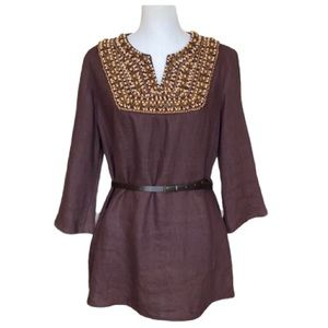 Victor Costa  100% Linen Embellished Tunic Top